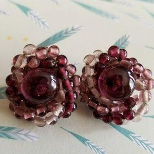 Vintage purple bead clip earrings Japan lavender